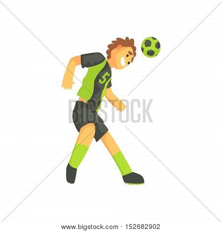 Football Player Smiling And Recieving The Ball On Head Isolated Illustration. Flat Cartoon Character In Simple Childish Style Vector Drawing.