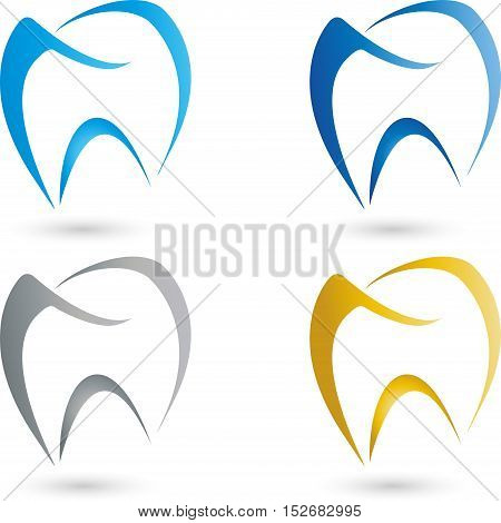 Tooth, tooth colored, dentistry and dentist logo
