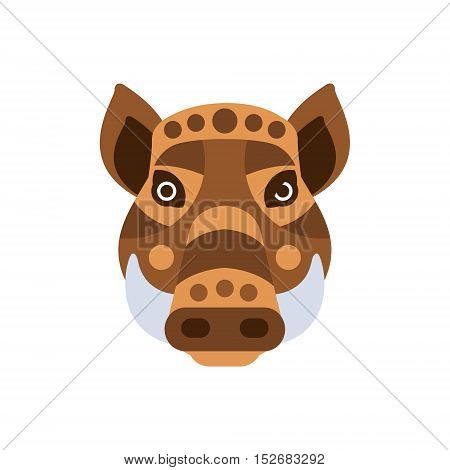 Wart Hog African Animals Stylized Geometric Head. Flat Colorful Vector Creative Design Icon Isolated On White Background