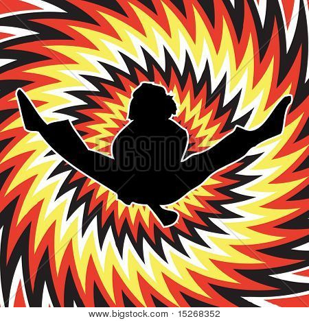 A karate man on a red fire abstract background