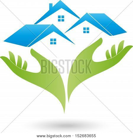 Hands and three houses, roofs, real estate and real estate agent logo