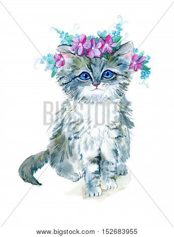 Grey kitty with a flower wreath.Watercolor hand drawn illustration.Postcard with cat on a white background.
