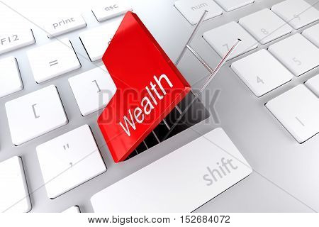 red enter key open with ladder in underpass wealth 3D Illustration