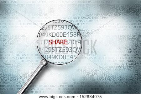 reading share on screen magnifying glass internet security 3D Illustration