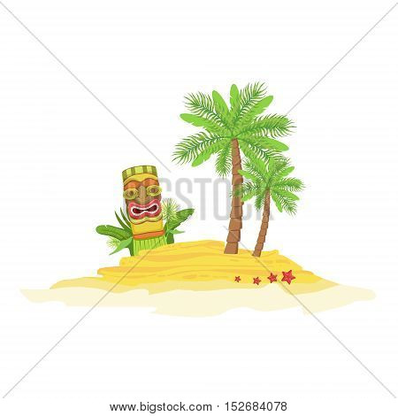 Beach Hawaiian Vacation Classic Symbol. Isolated Flat Vector Icon With Traditional Hawaiian Representation On White Bacground.