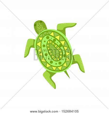 Painted Turtle Hawaiian Vacation Classic Symbol. Isolated Flat Vector Icon With Traditional Hawaiian Representation On White Bacground.