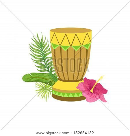 Craft Drum Hawaiian Vacation Classic Symbol. Isolated Flat Vector Icon With Traditional Hawaiian Representation On White Bacground.