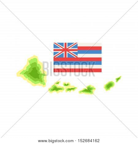 Flag Hawaiian Vacation Classic Symbol. Isolated Flat Vector Icon With Traditional Hawaiian Representation On White Bacground.