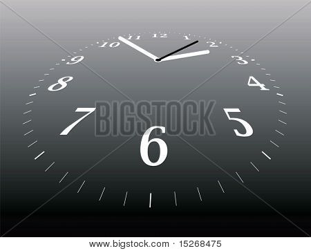Illustration of a clock that is dissapearing into the distance