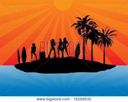 Beach holiday illustration in silhouette with sexy girls dancing and surf boards stuck in the sand