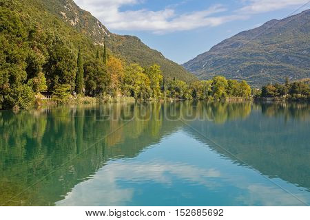 Beautiful Lago di Santa Massenza Lake in Santa Massenza, Trento during Autumn season in Italy, Europe