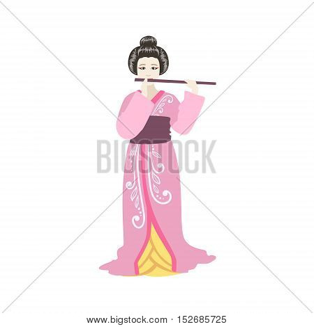 Japanese Geisha Playing Flute. Simple Realistic Character On White Background With Traditional Culture Symbols
