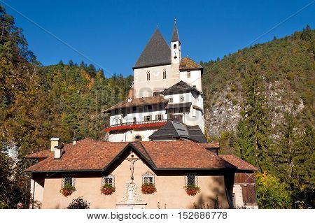 Santuario di San Romedio (Sanctuary of St. Romedio 1000-1918). Coredo Trento Trentino Alto Adige Italy Europe