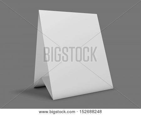 Marketing promotional cardboard display, presentation stand gray background.