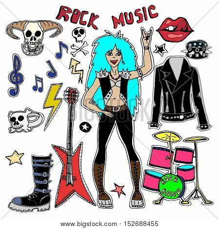 Cute embroidery patches and stickers collection. Rock Music. Hand drawn vector sketches. Teen girl, shoes, bracelets, leather jacket, skulls, monster, guitar,stars,arrows, hand, rock symbols.