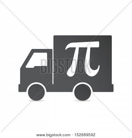 Isolated Delivery Truck With The Number Pi Symbol