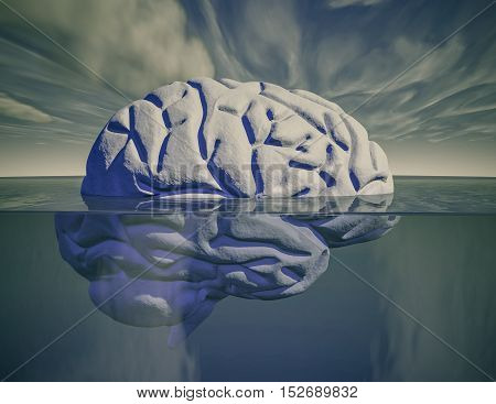 Brain under water psychiatry and psychology concept 3D illustration.
