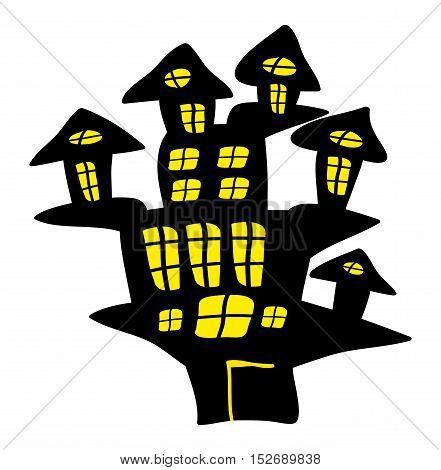 Halloween Creepy Scary Hounted House, Vector Symbol Icon Design.