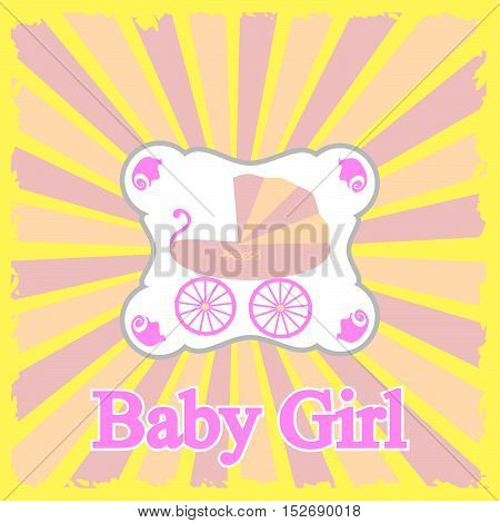 Baby girl announcement card. Vector stock illustration.