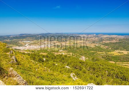Menorca island landscape viewed from Monte Toro, Balearic islands, Spain.