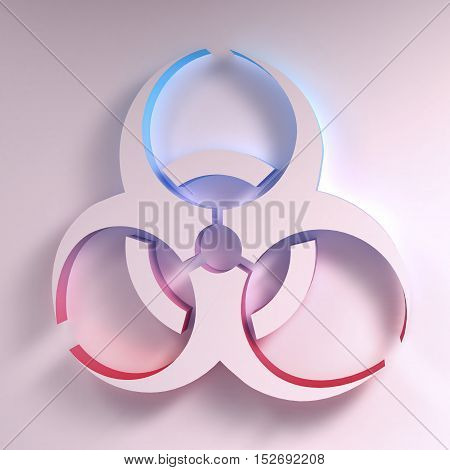 Three-dimentional Biohazard symbol. Biological danger symbol. 3D illustration