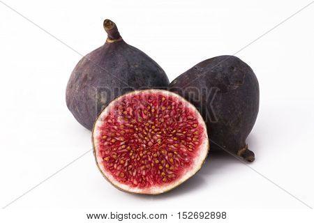 Feige, freigestellt, weißer Hintergrund, tropisch, Früchte, Obst