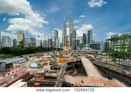 Building construction site with Kuala lumpur city skyline and skyscraper in Kuala lumpur Malaysia