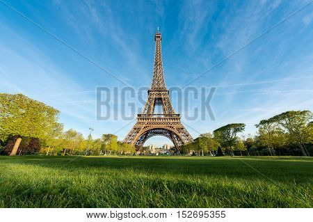 Sunrise in Eiffel Tower in Paris France. Eiffel Tower is famous place in Paris France.