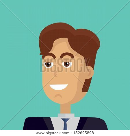 Businessman avatar icon isolated on green background. Man with brown hair in business suit and tie. Smiling young man personage. Flat design vector illustration