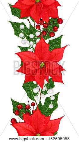 Vertical floral border. Pattern seamless weaving from twigs red poinsettia ornaments Christmas background.