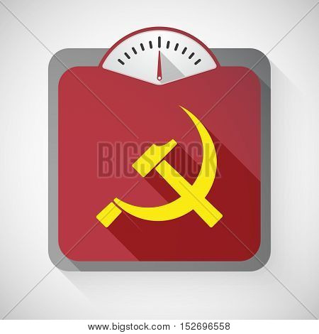 Isolated Long Shadow Body Weight Scale With  The Communist Symbol