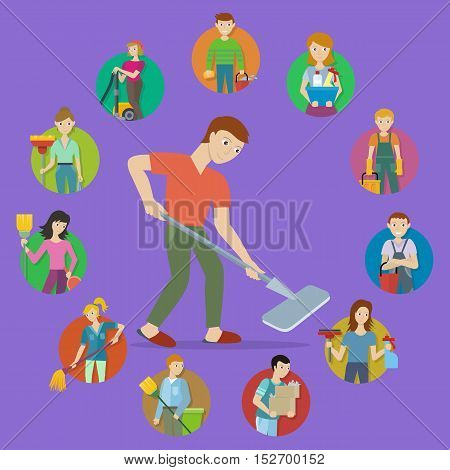 Cleaning service round icon set. Man and woman with cleaning equipment and detergent. Cleaning staff characters. House cleaning service, professional office cleaning, home cleaning illustration.
