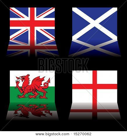 reflected version of the british national flags on black poster