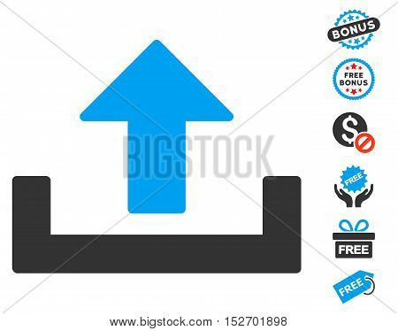 Upload icon with free bonus pictures. Vector illustration style is flat iconic symbols blue and gray colors white background.