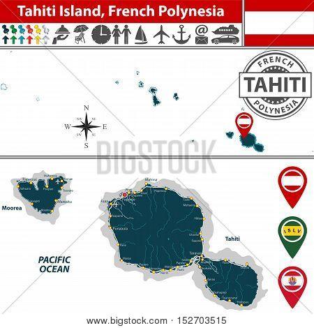 Map Of Tahiti Island, French Polynesia