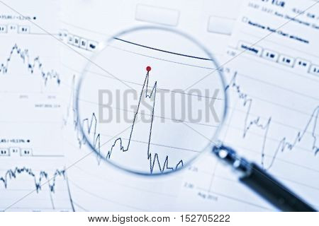 Magnifier focused a chart with the price development of a share.