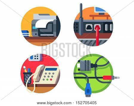 Office equipment set. Printer and router, phone or cable. Vector illustration