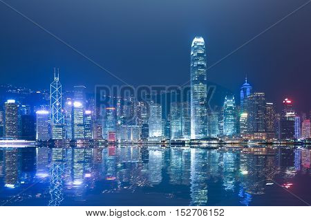 HK Victoria Harbour of modern city buildings backgrounds at skyline night