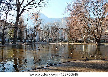 Dante Square In Trento, Italy