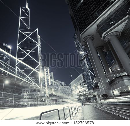 Road Light Trails On Streetscape Buildings In Hongkong