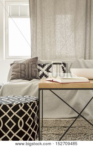 Living room with pattern pouf sofa and table