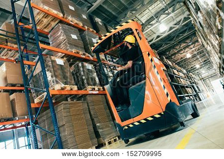 Warehouse logitics work being done with forklift