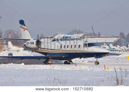 Kiev Ukraine - January 27 2012: IAI 1125 Astra business jet is taxiing to the runway for takeoff on a winter day