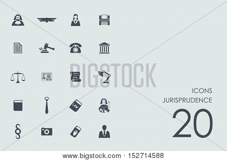 jurisprudence vector set of modern simple icons