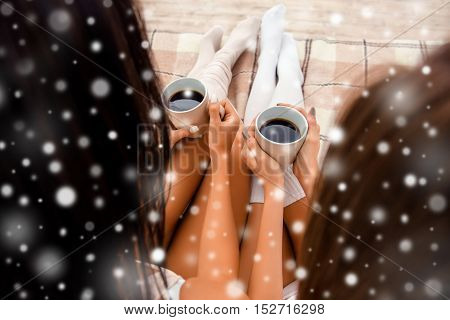Close Up Photo Back View Of Two Cups Of Coffee In Women's Hands, Xmas Concept
