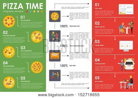 Pizza Time infographic elements. Flat concept web vector illustration. Perfect Pizzeria presentation.