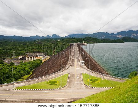 Road on Ratchaprapha Dam Surat Thani province,Thailand