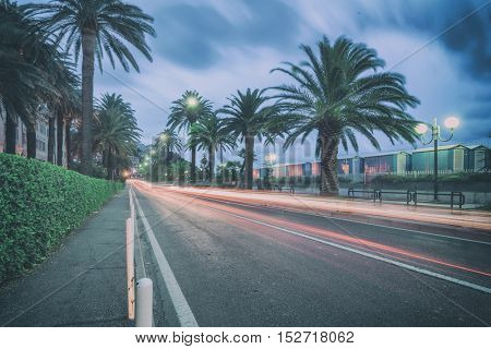 nigth city road in italy