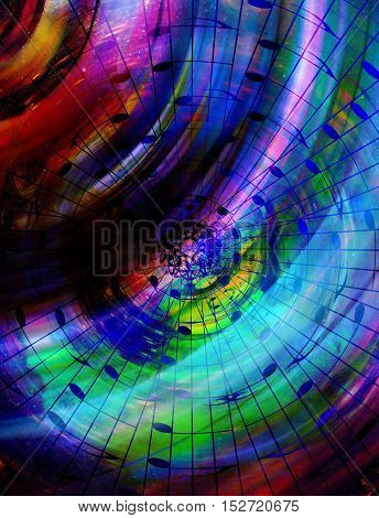 music note and silhouette music speaker and Space with stars. abstract color background. Music concept