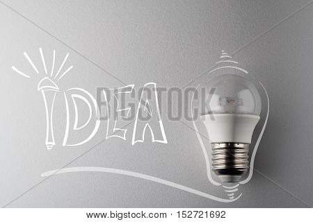 creative idea.Concept of idea and innovation with led lamp.